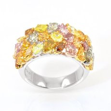 4.26 Carat, A Fancy Color Diamond Collage Designer Ring, Mix