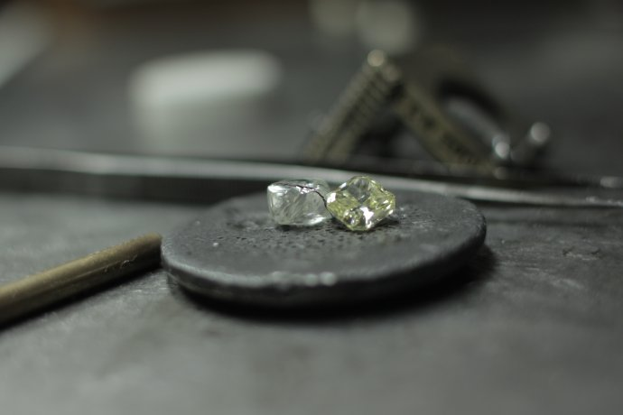A Leibish & Co. rough colorless and yellow diamond