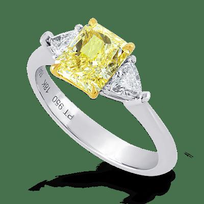 Triangle Diamond Side-stone Ring
