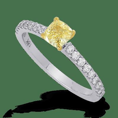 Four Prong Cushion Diamond & Pave Ring
