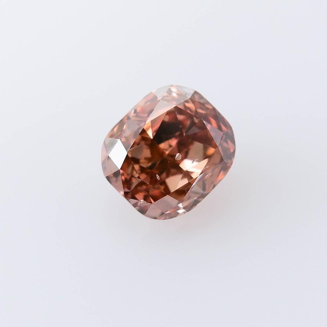 0 68 Carat Fancy Deep Pink Brown Diamond Cushion Shape