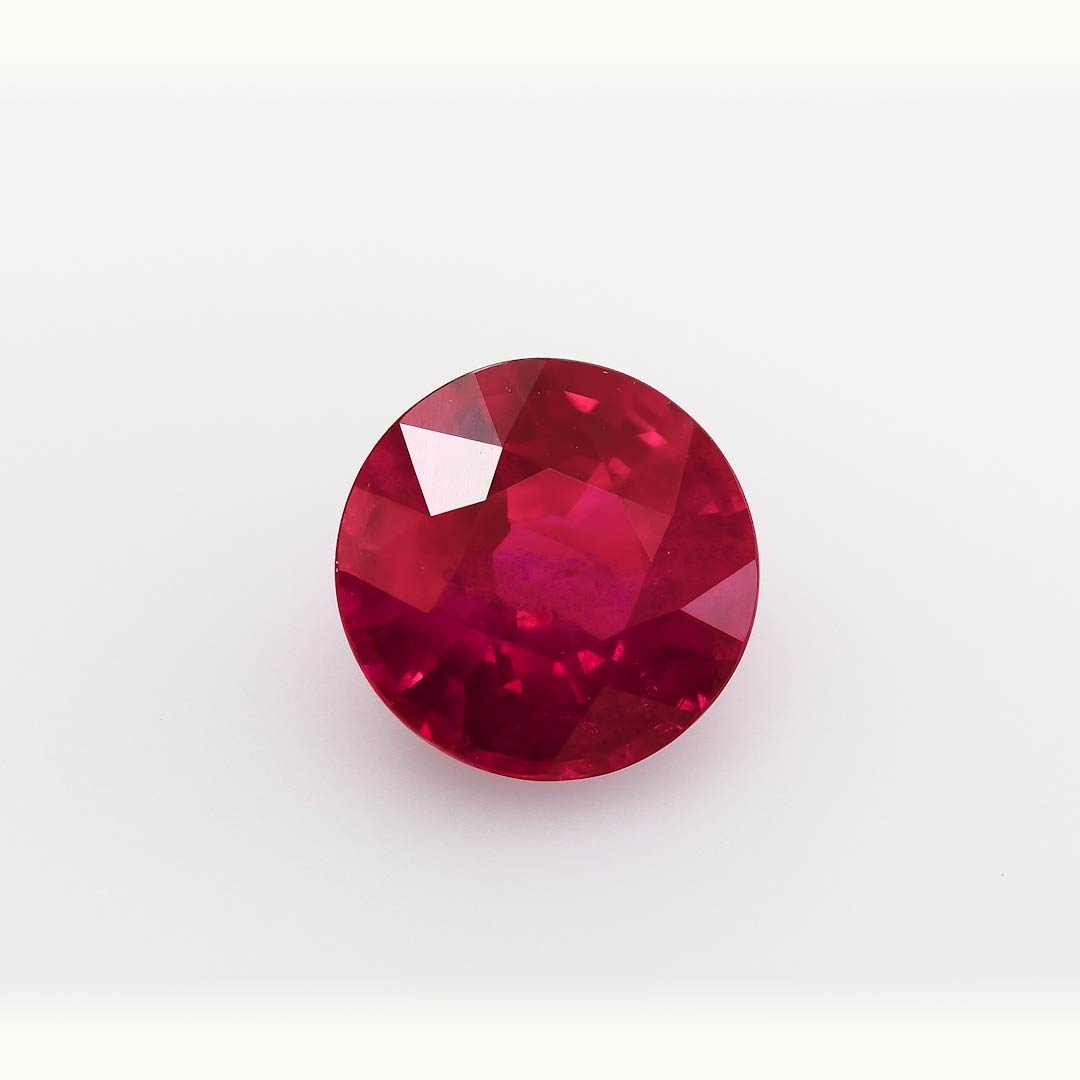 2 19 Carat Red Burmese Ruby Round Shape Agl Sku 305440