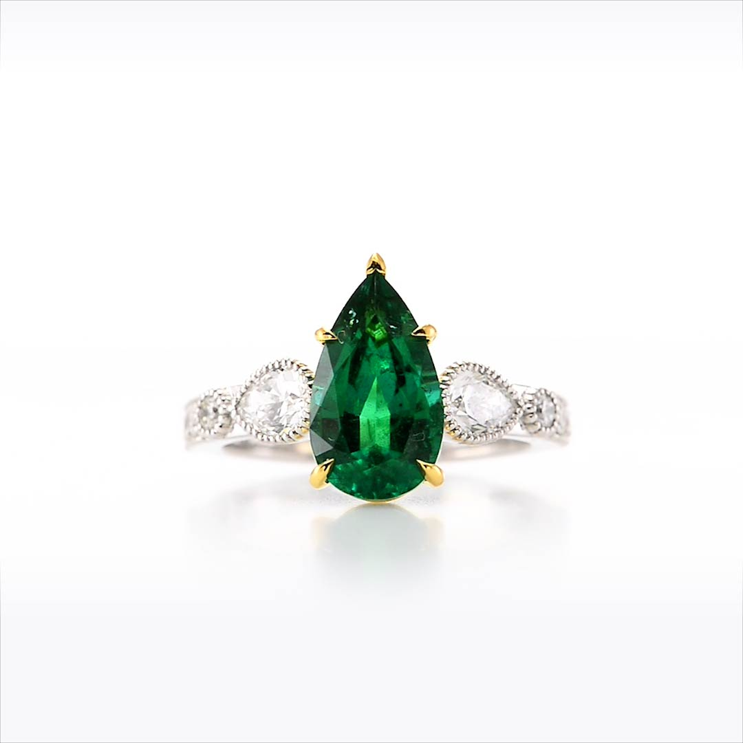 zambian emerald pear ring sku 285143 3 54ct tw