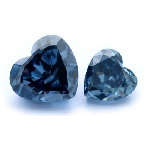 Two Heart Shaped, Fancy Blue Diamonds