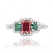 0.53 Carat, Fancy Red, Radiant, Flanked by tw