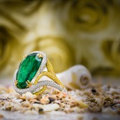 Emerald Pear & Yellow Diamond Designer Ring