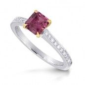 Emerald-cut Pink Tourmaline & Diamond Ring, S