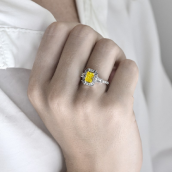 Fancy Intense Yellow Radiant Diamond Ring, SK
