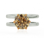 Light Brown Round Diamond Double Shank Solita
