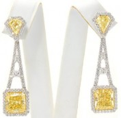 Eifel Canary earrings,12.54ct Fancy Yellow In