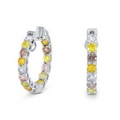 Multicolored Diamond Hoop Earrings, SKU 14161