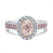 Fancy Light Pink Oval Diamond Halo Ring, SKU