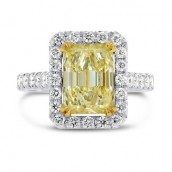 Fancy Light Yellow Emerald Diamond Ring, SKU