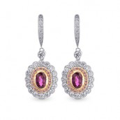 Oval Ruby & Pink Diamond Drop Halo Earrings,