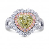 Fancy Green Yellow Heart Diamond Halo Ring, S