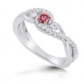 Fancy Intense Pink 3 Stone Diamond Ring, SKU