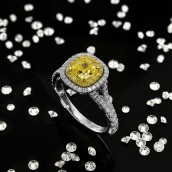 Fancy Intense Yellow Cushion Diamond Halo Rin