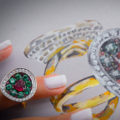 Extraordinary Ruby Emerald & Diamond Ring (4.