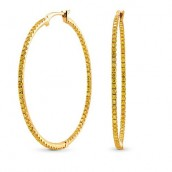 Fancy Vivid Yellow Diamond Pave Hoop Earrings