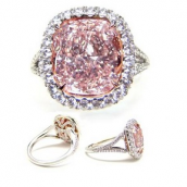 A pink diamond engagement ring