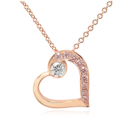 Pink diamond heart shaped pendant