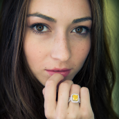 Yellow diamond ring on model