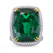 Extraordinary Emerald Cushion Ring with Vivid