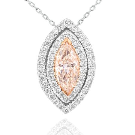 Ein atemberaubender Anhänger mit doppelter Umrandung in Navette-Form mit Diamant in Navette-Form in Hell-Pink, 0,41 Karat, VS2