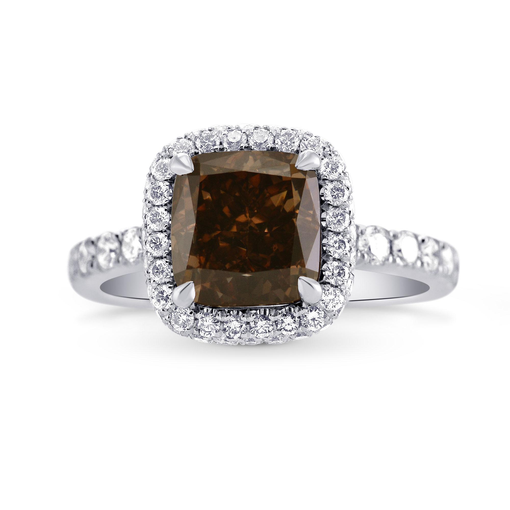 Fancy Dark Orangy Brown Cushion Diamond Halo Ring, SKU 280008 (3.28Ct TW)