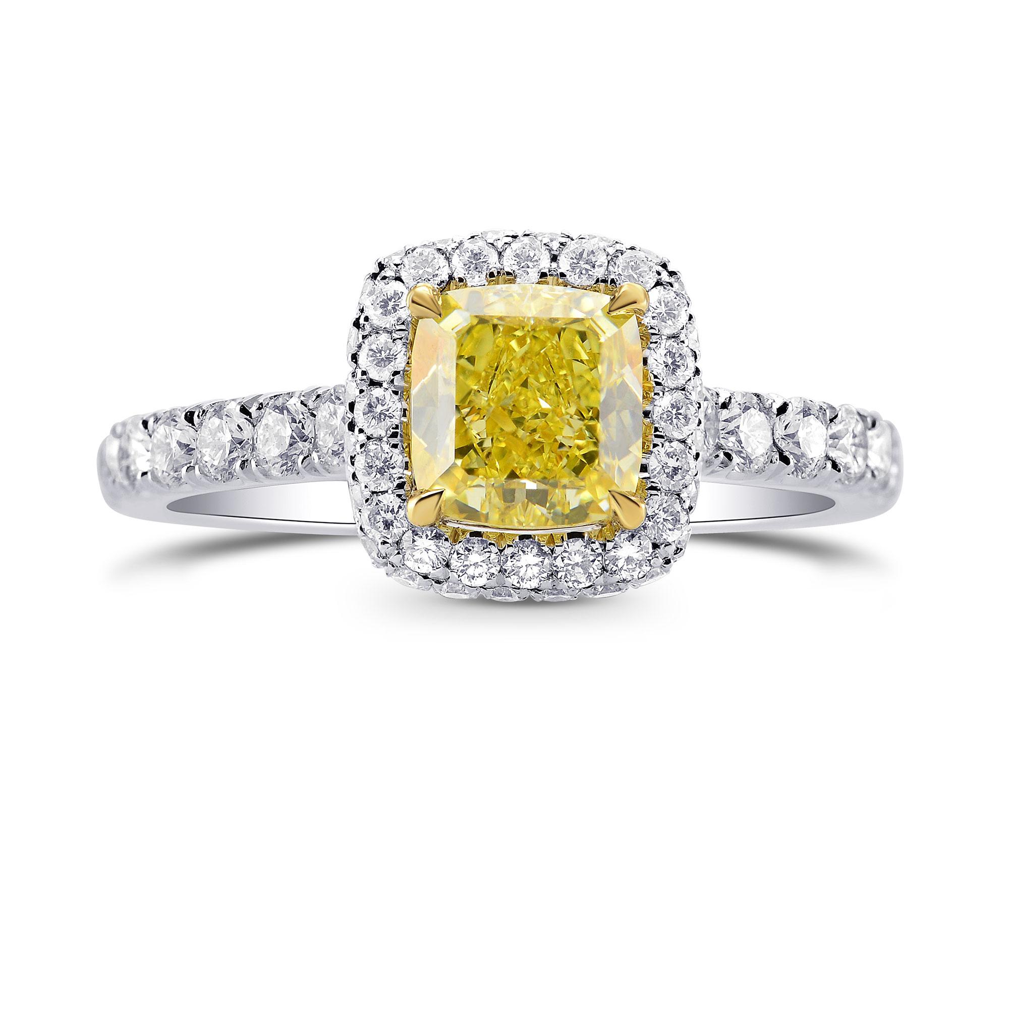 Fancy Yellow Cushion Diamond Ring, SKU 280688 (1.73Ct TW)