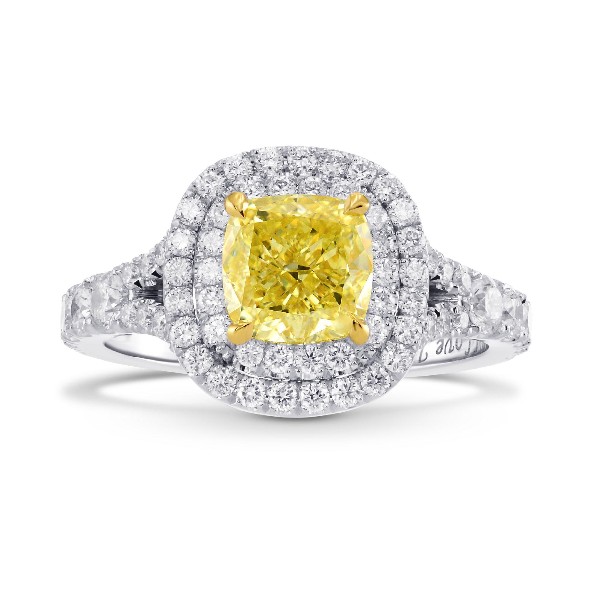 Fancy Intense Yellow Cushion Diamond Ring, SKU 281737 (2.19Ct TW)