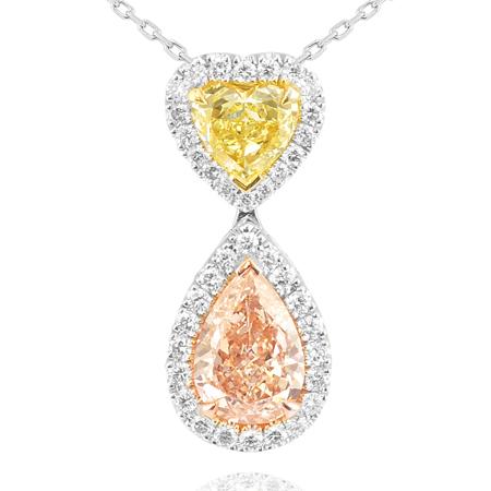 Halskette mit herzförmigem Diamant in Fancy-Gelb und birnenförmigem Diamant in FancyHell-Pink, 1,52 Karat