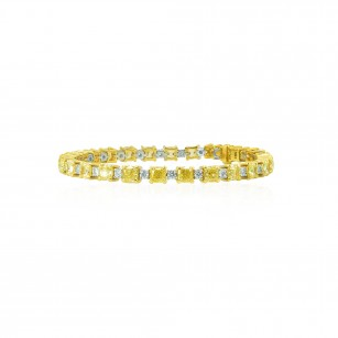 Fancy Yellow and White Cushion Diamond Bracelet, SKU 100982 (13.11Ct TW)