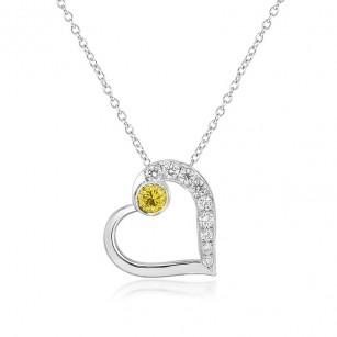 Fancy Vivid Yellow and White Pave Diamond Heart Pendant, SKU 101365 (0.22Ct TW)