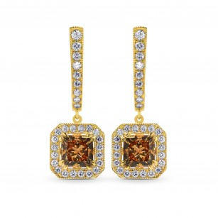 Fancy Yellow Brown Princess Diamond Drop Halo Earrings, SKU 101787 (2.74Ct TW)