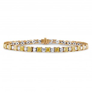 Fancy Yellow Radiant and White Diamond Bracelet, SKU 103590 (8.37Ct TW)