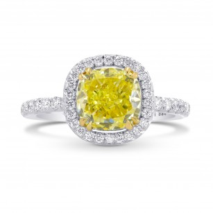 Fancy Intense Yellow Cushion Diamond Halo Ring, SKU 106019 (2.90Ct TW)