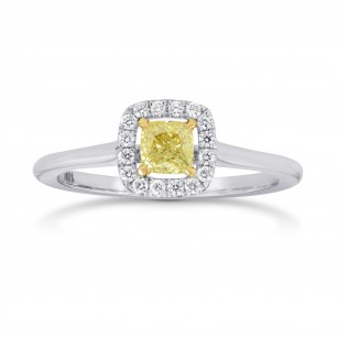 Fancy Yellow Cushion Diamond Halo Ring, SKU 108073 (0.42Ct TW)