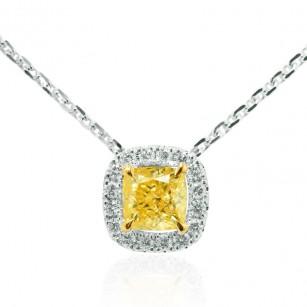 Fancy Intense Yellow Cushion Diamond Halo Pendant, SKU 108595 (0.52Ct TW)