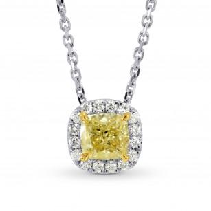 Fancy Yellow Cushion Diamond Halo Pendant, SKU 108620 (0.65Ct TW)