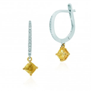 Fancy Intense Yellow Cushion Diamond Drop Earrings, SKU 115437 (1.18Ct TW)
