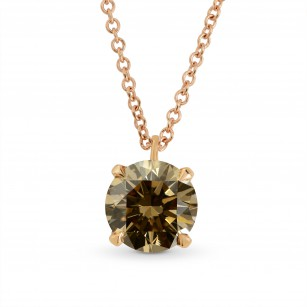 Fancy Yellow Brown Brilliant cut  Diamond Solitaire Pendant, SKU 115702 (1.14Ct)