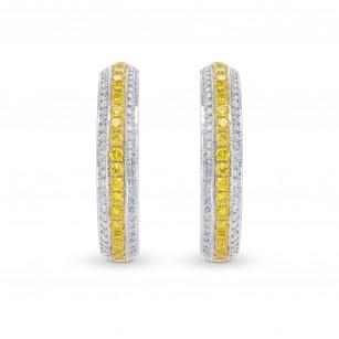 Fancy Vivid Yellow Pave Hoop Diamond Earrings, SKU 115882 (1.07Ct TW)