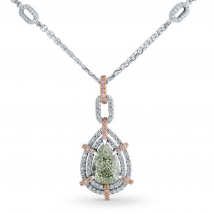 Fancy Yellowish Green Pear Diamond Necklace, SKU 117338 (2.06Ct TW)