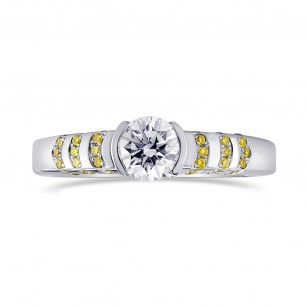 White Round Solitaire Diamond Ring with Yellow Pave, SKU 118127 (0.73Ct TW)