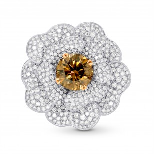Fancy Orange Brown Diamond Pave Flower Ring, SKU 122324 (6.45Ct TW)