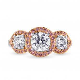 White and Fancy Pink Diamond 3 Stone Halo Ring, SKU 122678 (1.51Ct TW)