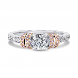Touche Collection -  White and Pink Diamond Ribbon Ring, SKU 122870 (0.97Ct TW)