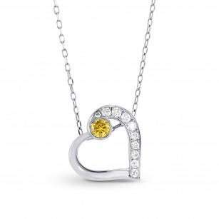 Fancy Vivid Orange Yellow and White Diamond Heart Pendant, SKU 127505 (0.13Ct TW)