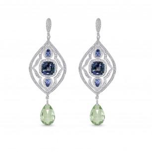 Tanzanite and Aquamarine Drop Diamond Earrings, SKU 129935 (14.25Ct TW)